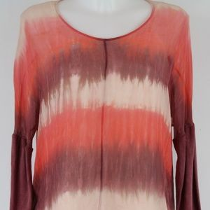 Gypsy Red Sheer Long Sleeve Blouse Size XS